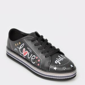 Pantofi sport pentru fetite negri, 2520304, din piele ecologica