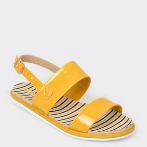 Sandale pentru fetite galbene, 2312106, din piele ecologica
