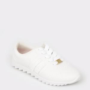 Pantofi sport pentru fetite albi, 2512105, din piele ecologica