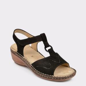 Sandale ARA negre, 37223, din nabuc