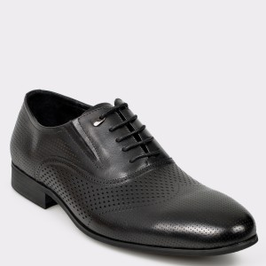 Pantofi OTTER negri, A330011, din piele naturala