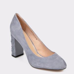 Pantofi EPICA gri, 841A612, din piele intoarsa