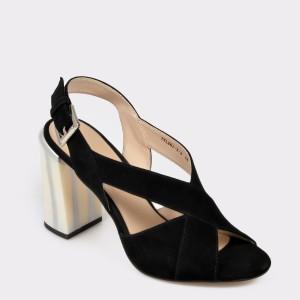 Sandale EPICA negre, Tyl2613, din piele intoarsa