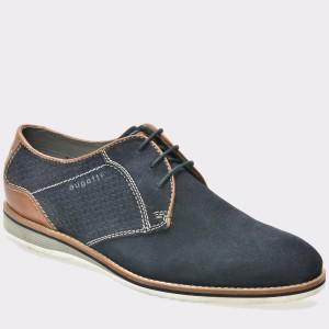 Pantofi Bugatti Bleumarin, 45402, Din Piele Intoarsa
