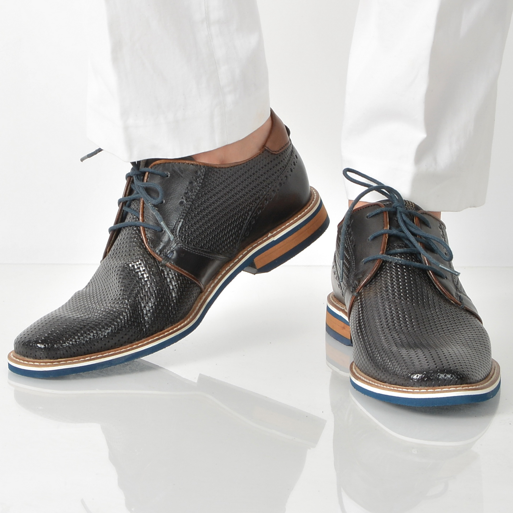 Pantofi Bugatti Bleumarin, 46102, Din Piele Naturala