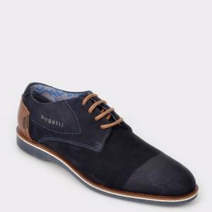 Pantofi Bugatti Bleumarin, 64702, Din Piele Intoarsa