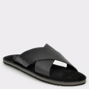 Papuci BUGATTI negri, 70380, din piele naturala