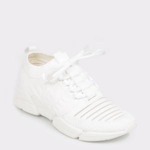 Pantofi BUGATTI albi, 66860, din material textil