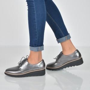 Pantofi Clarks Argintii, 6136364, Din Piele Naturala
