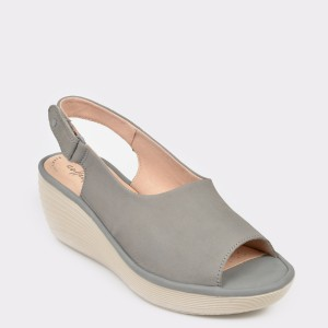 Sandale CLARKS gri, Reedsha, din nabuc
