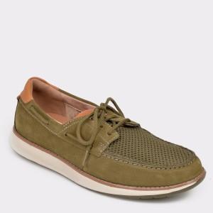 Pantofi CLARKS kaki, Unpilla, din nabuc