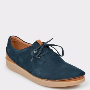 Pantofi CLARKS bleumarin, Oakllac, din nabuc