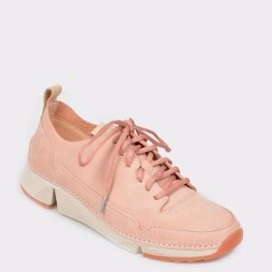 Pantofi sport CLARKS roz, Trispar, din nabuc