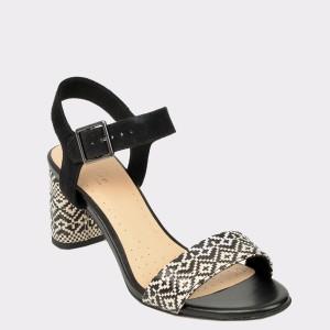 Sandale CLARKS negre, Amalwea, din piele intoarsa