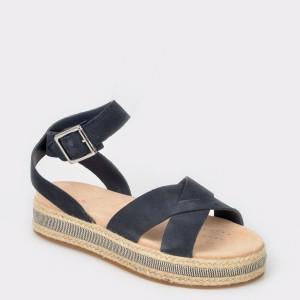 Sandale CLARKS bleumarin, Botapop, din piele intoarsa