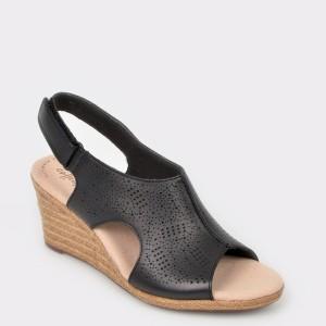 Sandale CLARKS negre, Laflros, din piele naturala