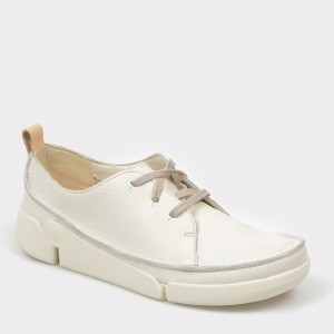 Pantofi CLARKS albi, Triclar, din piele naturala