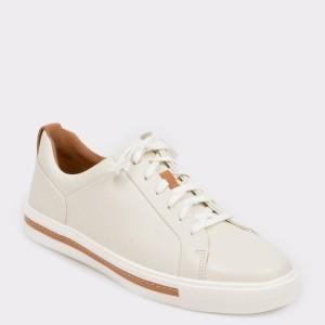 Pantofi sport CLARKS albi, Unmaula, din piele naturala