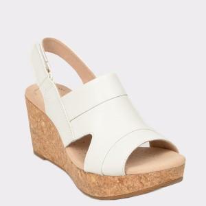 Sandale CLARKS albe, Annaivo, din piele naturala
