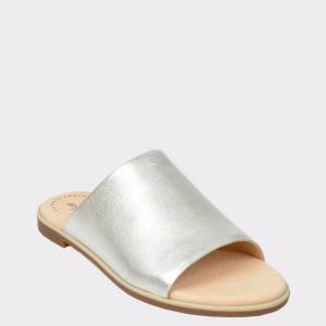 Papuci CLARKS argintii, Baypeta, din piele naturala