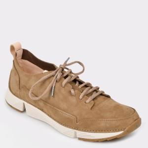 Pantofi CLARKS kaki, Trispar, din piele naturala