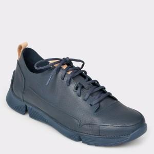 Pantofi sport CLARKS bleumarin, Trispar, din piele naturala