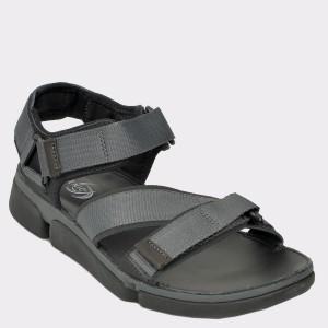 Sandale CLARKS negre, Tricosu, din material textil si piele