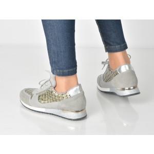 Pantofi Sport Image Argintii, 4611, Din Piele Intoarsa