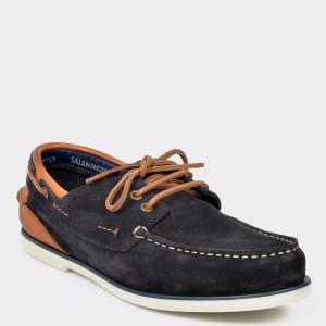 Pantofi Salamander Bleumarin, 55716, Din Piele Intoarsa