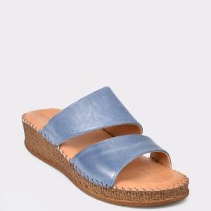 Papuci SALAMANDER albastri, 40505, din piele naturala