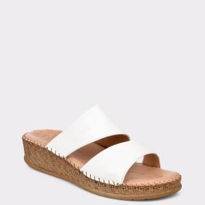 Papuci SALAMANDER albi, 40505, din piele naturala