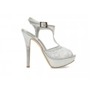 Pantofi EPICA argintii, pentru mireasa, 1545, din material textil