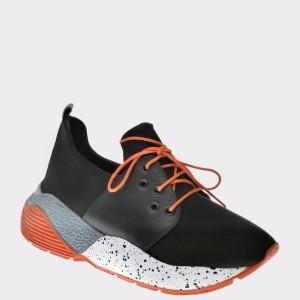 Pantofi Flavia Passini Negri, 6077316, Din Piele Naturala Si Material Textil