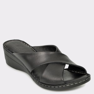 Papuci FLAVIA PASSINI negri, 418, din piele naturala