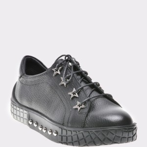 Pantofi FLAVIA PASSINI negri, Plm6424, din piele naturala