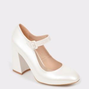 Pantofi EPICA albi pentru mireasa, 620992, din piele ecologica