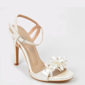Sandale EPICA albe pentru mireasa, 5836300, din piele ecologica