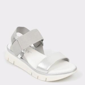 Sandale The FLEXX argintii, Fonzie, din piele naturala si material textil