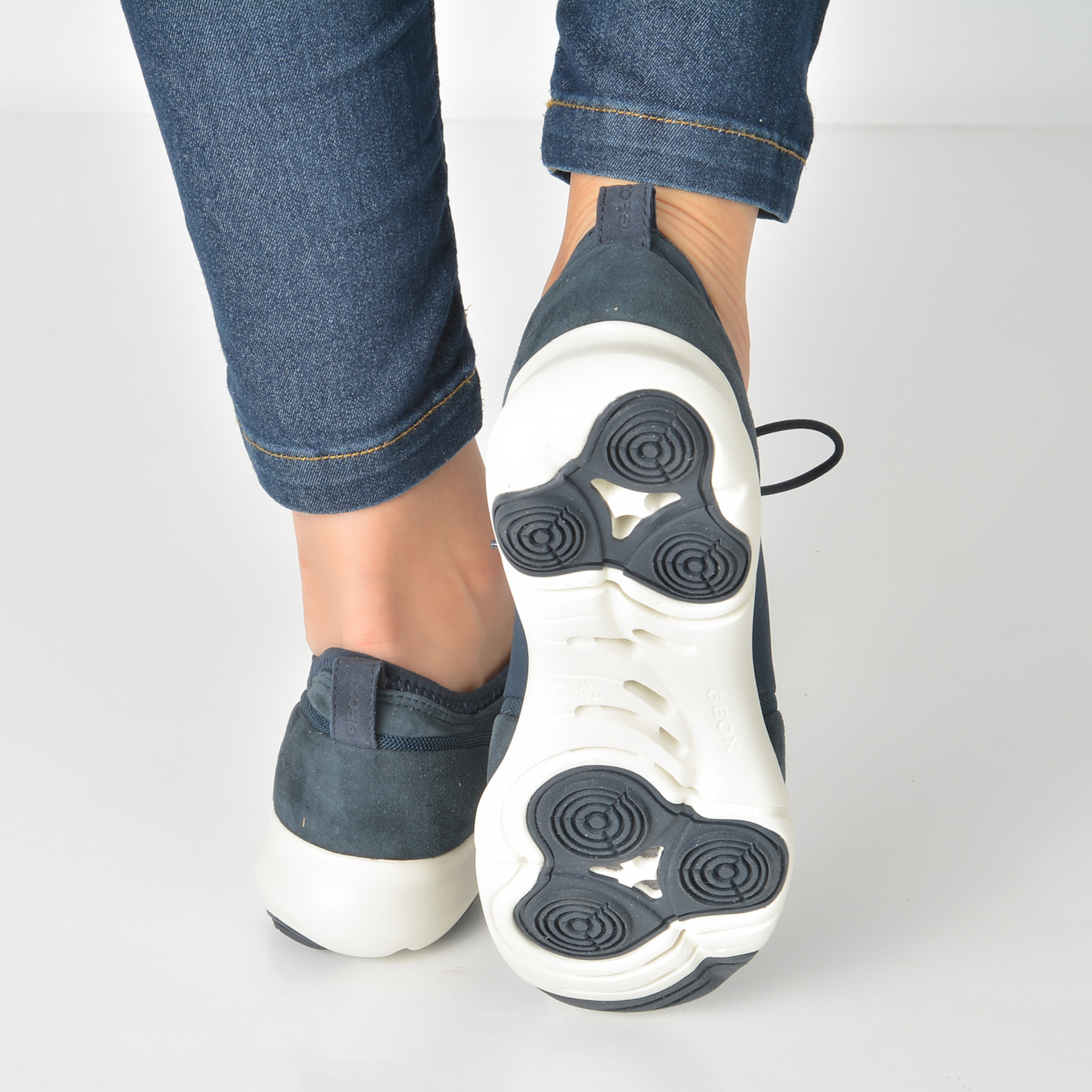 Pantofi Sport Geox Bleumarin, D829da, Din Piele Intoarsa
