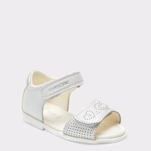 Sandale Pentru Copii Geox Albe, B8221a, Din Piele Naturala