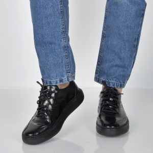 Pantofi Geox Negri, U845we, Din Piele Naturala