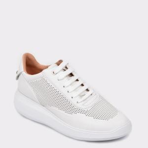 Pantofi GEOX albi, D84Apa, din piele naturala