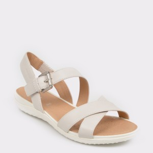 Sandale GEOX albe, D92R6E, din piele naturala