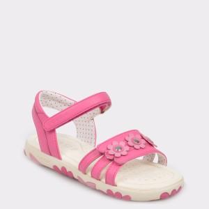 Sandale pentru copii, GEOX roz, J928Zd, din piele ecologica