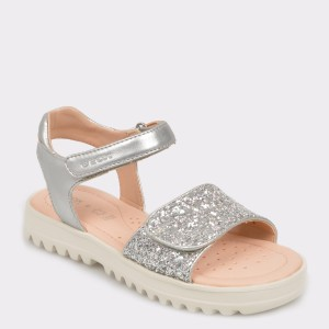 Sandale GEOX argintii, J926Ea, din piele ecologica