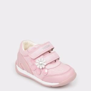 Pantofi sport pentru copii GEOX roz, B920Ag, din piele ecologica