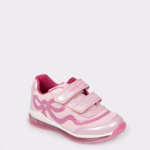 Pantofi sport pentru copii GEOX roz, B9285A, din piele ecologica