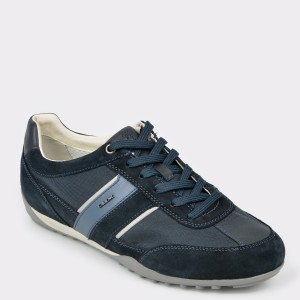 Pantofi sport GEOX bleumarin, U52T5C, din piele naturala si material textil