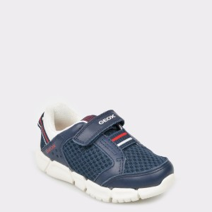 Pantofi pentru copii GEOX bleumarin, B922Tc, din piele naturala si material textil