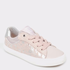 Pantofi pentru copii GEOX roz, J92D5E, din piele naturala si material textil